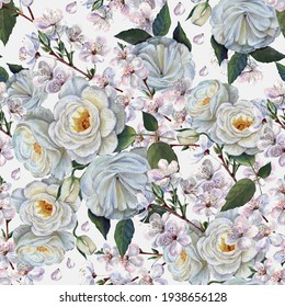 Watercolor flowers rose and cherry  on light gray background. Spring seamless pattern.