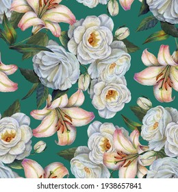 Watercolor flowers rose and lily  on  green background. Spring seamless pattern.