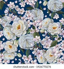 Watercolor flowers sakura  with rose on deep blue background. Seamless pattern  for decorations.