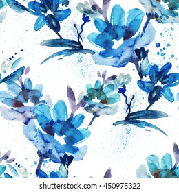 Watercolor Flowers Seamless Pattern