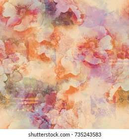 watercolor flowers seamless pattern. abstract hand drawn picture. artwork for textiles, fabrics, souvenirs, packaging and greeting cards.