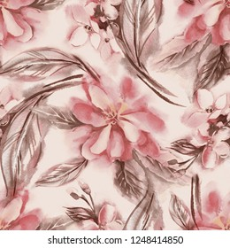 Watercolor Flowers Seamless Pattern. Hand Painted Background.