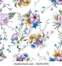 watercolor flowers seamless pattern, vintage English wallpapers, retro, rose, daisy, delicate wallpaper