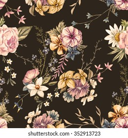watercolor flowers seamless pattern, vintage English wallpapers, retro