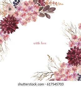 Watercolor flowers set. Beautiful floral clip art. Elegant floral collection with isolated leaves and colorful flowers, hand drawn watercolor. Design for invitation, wedding or greeting cards.