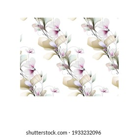 Watercolor flowers template frame vignette invitation illustration seamless texture