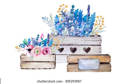 Watercolor flowers wooden box.Hand-drawn vintage illustration. Provence style with lavender bouquet.