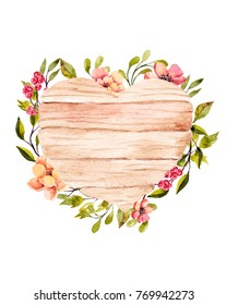 Watercolor flowers with wooden heart. Hand drawn illustration. Perfect for wedding invitations, happy birthday postcards, save the date postcards. Bright design. Botanical artwork.