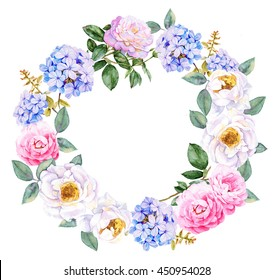 Watercolor flowers wreath with roses and blue jasmine