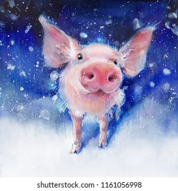 Watercolor fluffy piglet on white snow. Funny piggy. Pink cute piglet.