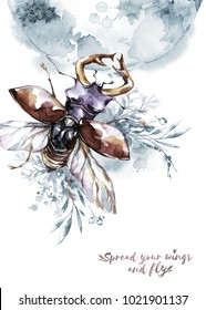 Watercolor flying beetle with horns on mistic planet and floral background. Animal, insects. Magic flight. Can be printed on T-shirts, bags, posters, invitations, cards, phone cases, pillows.
