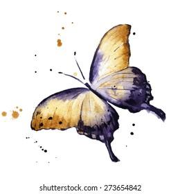 Watercolor flying butterfly