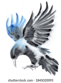Watercolor Flying Crow Raven Painting Art