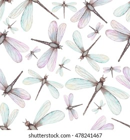 Watercolor Flying Dragonflies Seamless Pattern