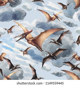 Watercolor flying pterodactyls in front of dark clouds. Hand painted seamless pattern. Predator animals of the prehistoric period