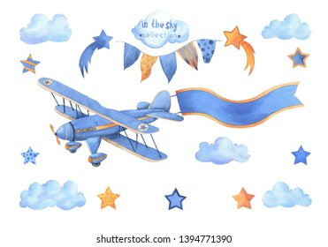 Watercolor flying set. Hand painted objects: vintage airplane, stars, garland of flags, clouds isolated on white background. Set for birthday, baby shower car.
