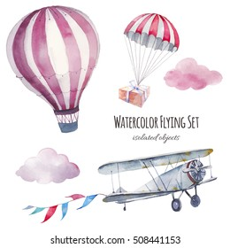 Watercolor flying set. Hand painted vintage airplane, flags garland, clouds, hot air balloon and parachute with gift box isolated on white background. Collection of retro transportation and skydiving