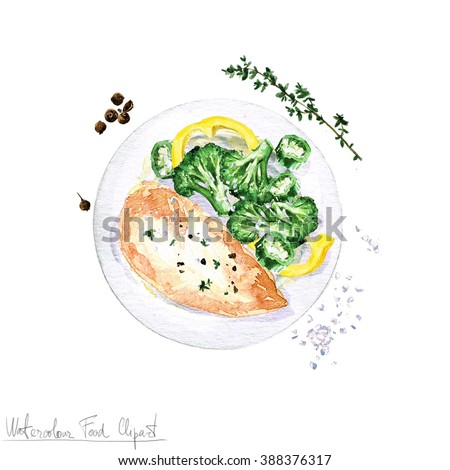 Royalty Free Stock Illustration Of Watercolor Food Clipart Chicken
