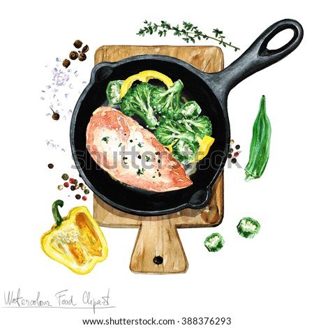 Watercolor Food Clipart Chicken Breast On Stock Illustration