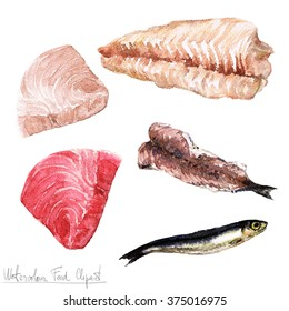 Watercolor Food Clipart - Fish fillet