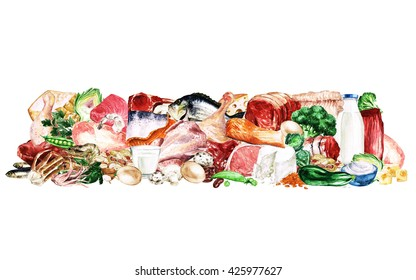 Watercolor Food Clipart - Healthy Balanced Nutrition - Protein group