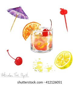 Watercolor Food Clipart - Old fashioned