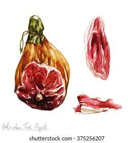 Watercolor Food Clipart - Prosciutto