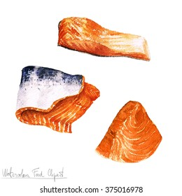 Watercolor Food Clipart - Salmon fillet