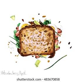 Turkey Sandwich Top View Stock Illustrations Images Vectors
