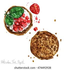 Watercolor Food Clipart - Snack, Bruschetta