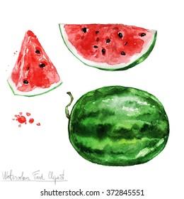 Watercolor Food Clipart - Watermelon