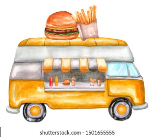Watercolor food truck with burger and french fries. Illustration isolated on white background