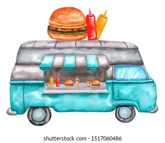 Watercolor food truck with burger and souse. Illustration isolated on white background