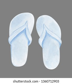 Watercolor footwear mock up. White flip flops template for design isolated on grey background