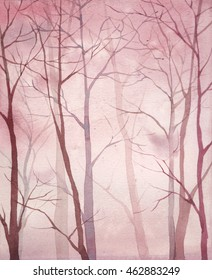 Watercolor forest art. Hand drawn abstract gradient background with trees. Natural landscape sketch