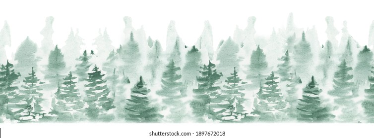 Watercolor forest landascape seamless pattern. Travel illustration with scandinavian nature. Green foggy forest woodland