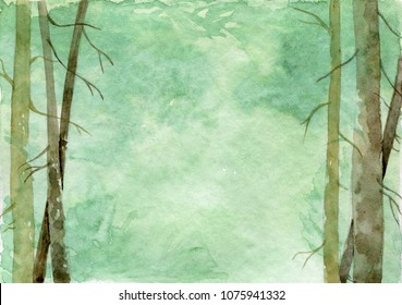 Watercolor forest landscape with pines. Simple green background. Template for invitation, menu, details card with a place for your text. Perfect for forest themed weddings in rustic or woodland style.