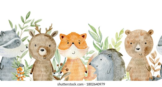 Watercolor forest wildlife seamless border with animals. Cute cartoon characters.