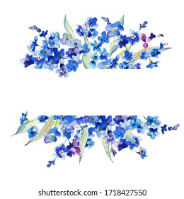 Watercolor Forget-me-not  blue floral frame. Watercolor blue flower for wedding invitations, babyshower, greeting cards. Wildflower illustration.