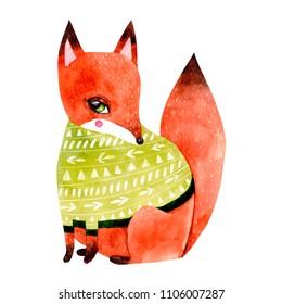 Watercolor fox illustration