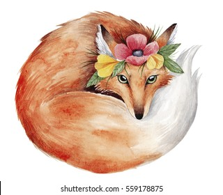 Watercolor fox illustration. Cute little fox with flowers. Hand drawn painting. Perfect for springtime design.