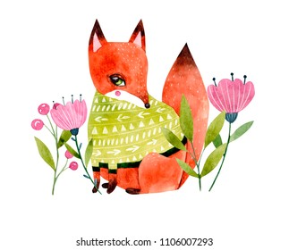 Watercolor fox illustration with flowers