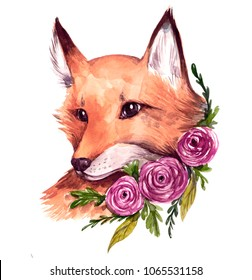 Watercolor fox with ranunculus. Flowers and animals
