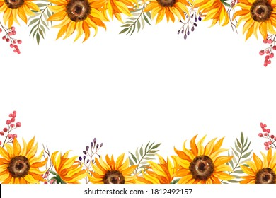 Watercolor frame, card with sunflowers, green leaves, red and purple berries