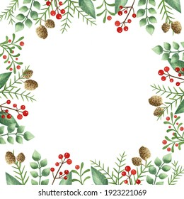 Watercolor frame for Christmas. Winter holidays. Christmas card.
