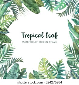 Watercolor frame of colorful tropical leaves. Concept of the jungle for the design of invitations, greeting cards and wallpapers.