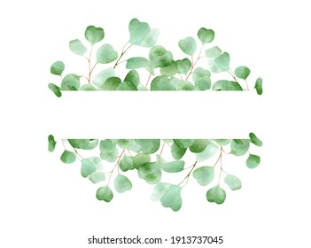 Watercolor frame with eucalyptus leaves. Floral horizontal banner illustration with green leaf and fresh plant