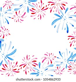 Watercolor frame for Fireworks festival. Holidays, 4th of July, United Stated independence day. Design for print, card, banner.