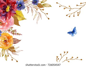 Watercolor frame with flowers, twigs, leaves, golden elements and butterfly