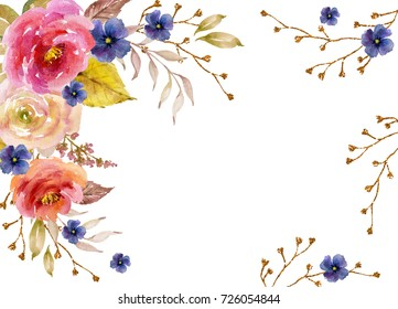 Watercolor frame with flowers, twigs, leaves and golden elements
